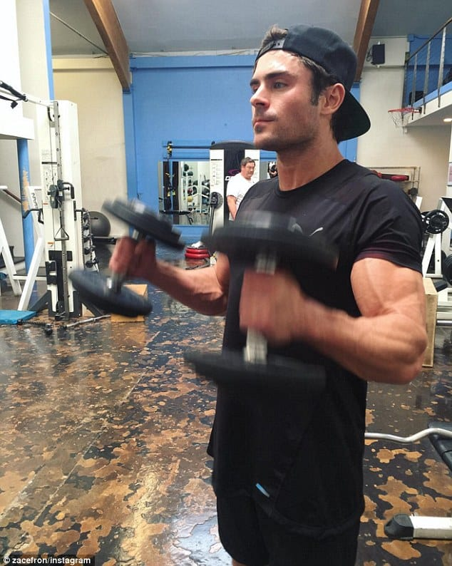 zac efron in the gym