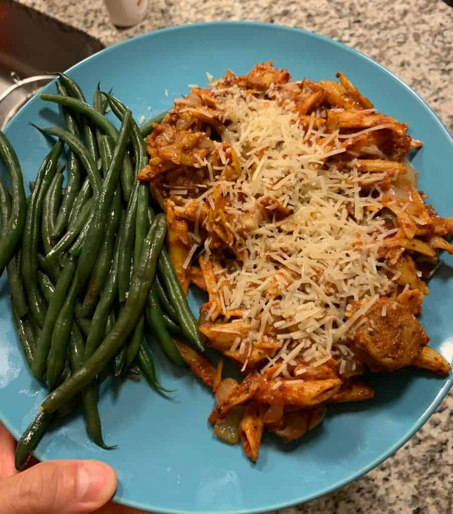 high protein pasta meal